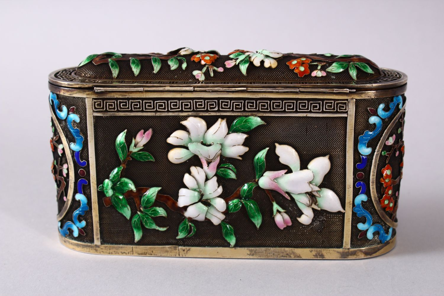 A CHINESE SILVER & ENAMEL LIDDED BOX, with enamel decoration of native flora, base marked silver, - Image 4 of 10