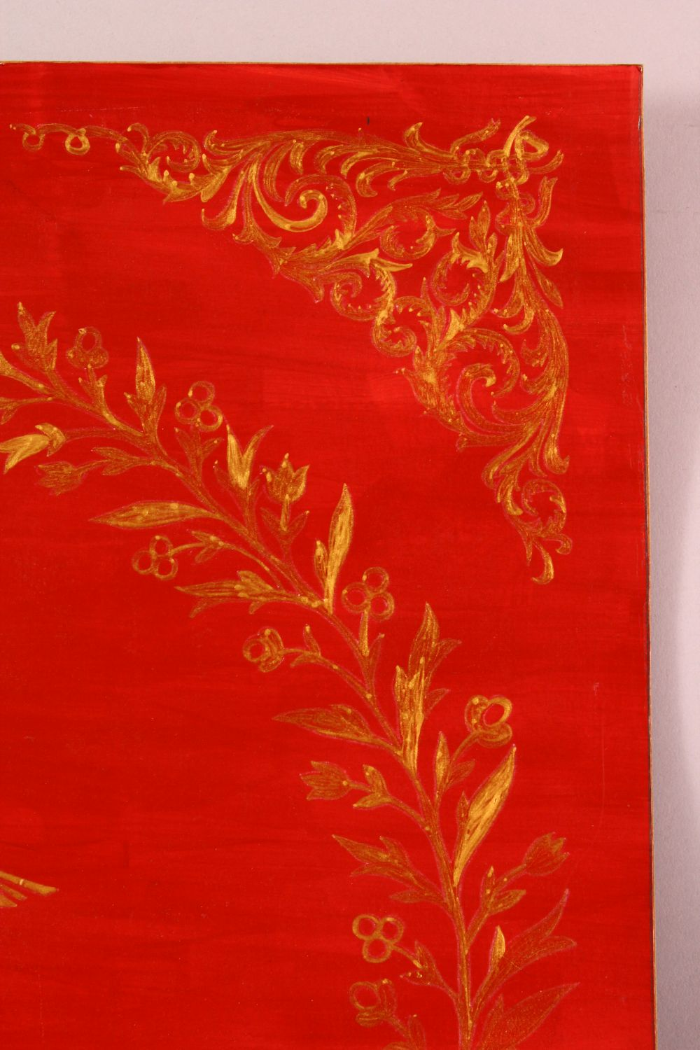 A TURKISH PAINTED CALLIGRAPHY PANEL, red and gilt calligraphy, 50cm x 57cm - Image 3 of 4