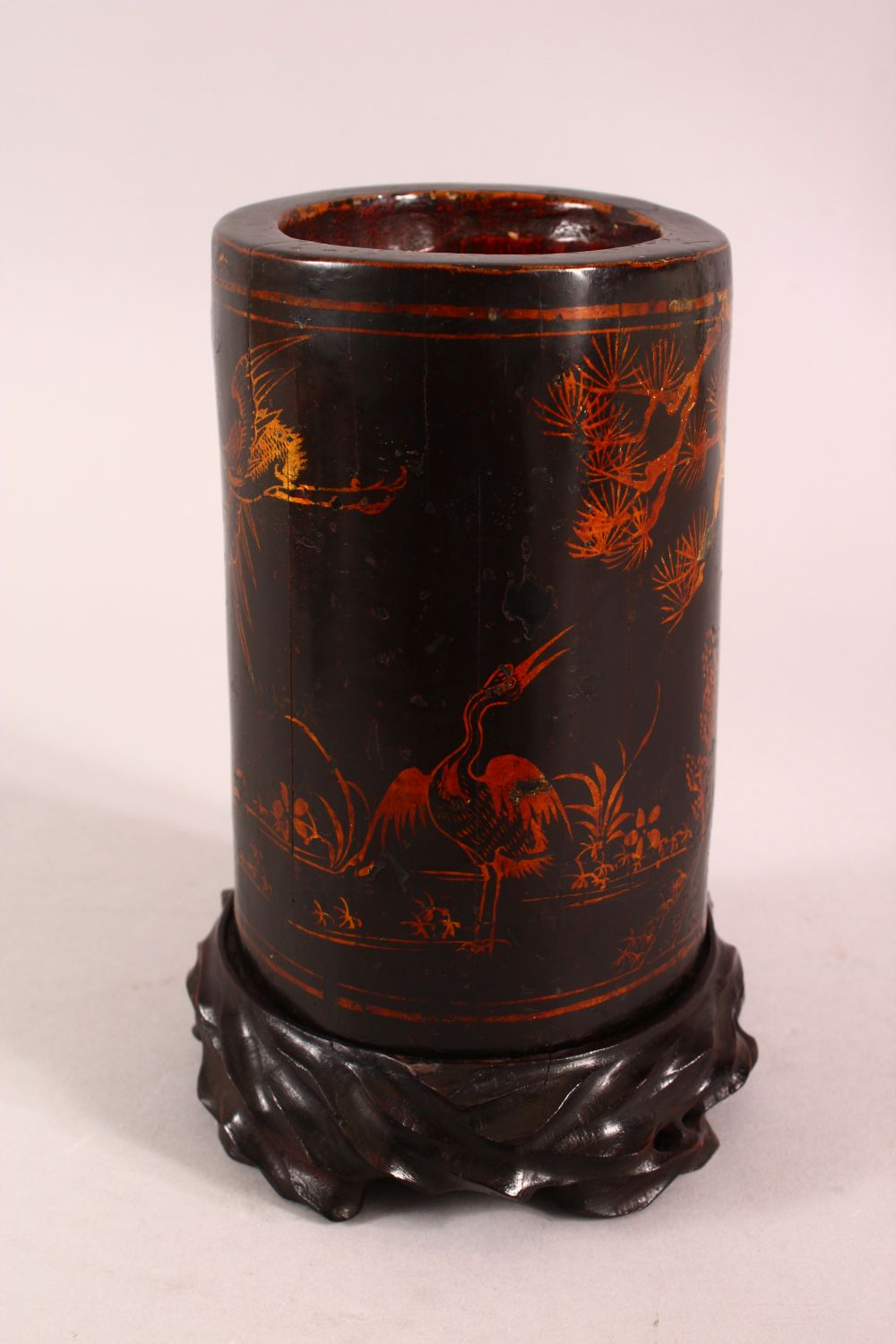 A CHINESE LACQUERED BAMBOO BRUSH WASH AND STAND, the body decorated with birds in landscapes, 19cm - Image 2 of 7