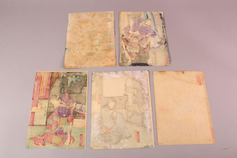 FIVE JAPANESE MEIJI PERIOD WOODBLOCK PRINTS BY YOSHITAKI UTAGAWA ( 1841 - 1899 ), each depicting - Image 7 of 7