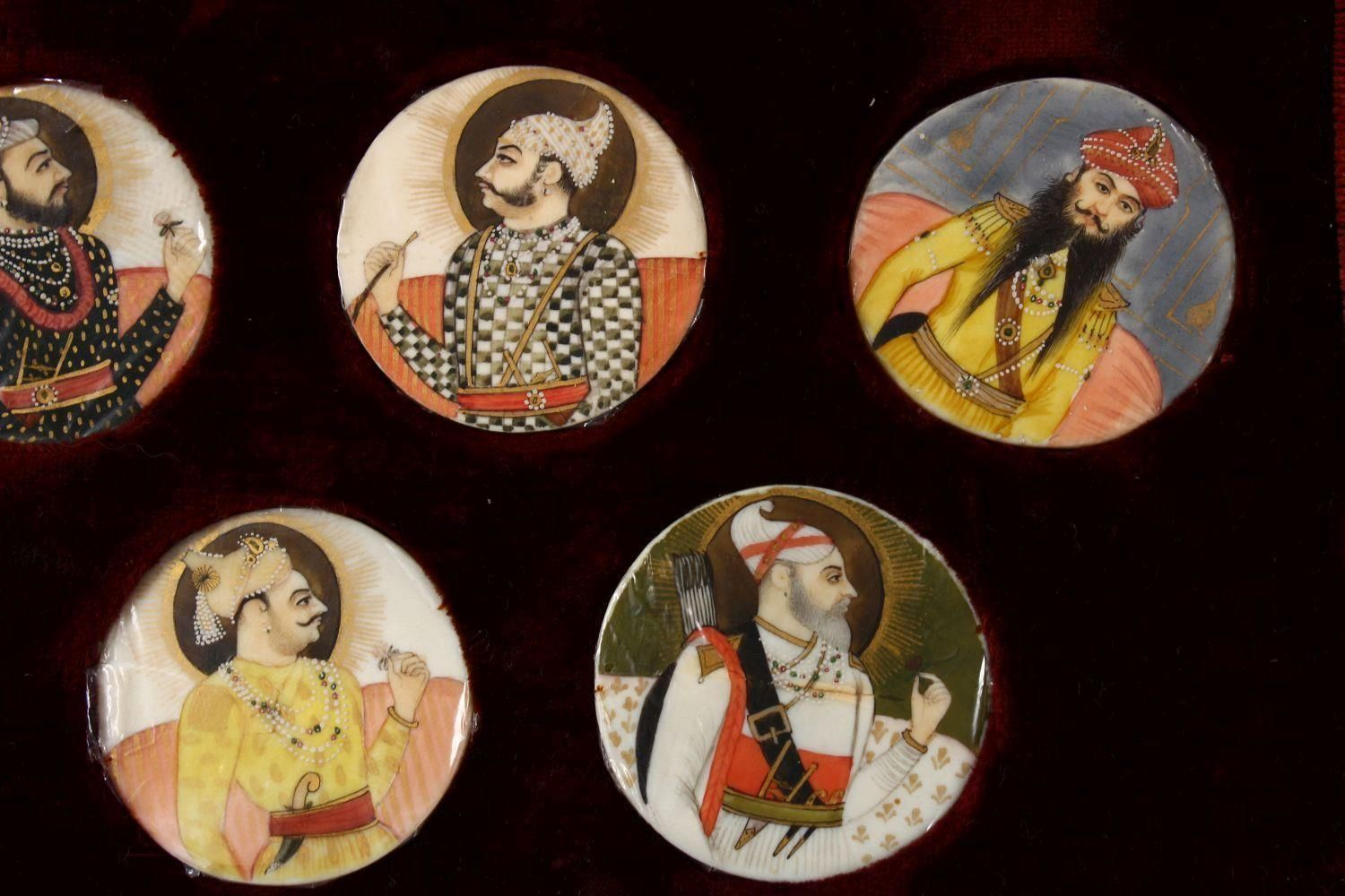 A BOXED SET OF THIRTEEN 18TH/19TH CENTURY PERSIAN CARVED & PAINTED IVORY MINIATURES, each of the - Image 9 of 10