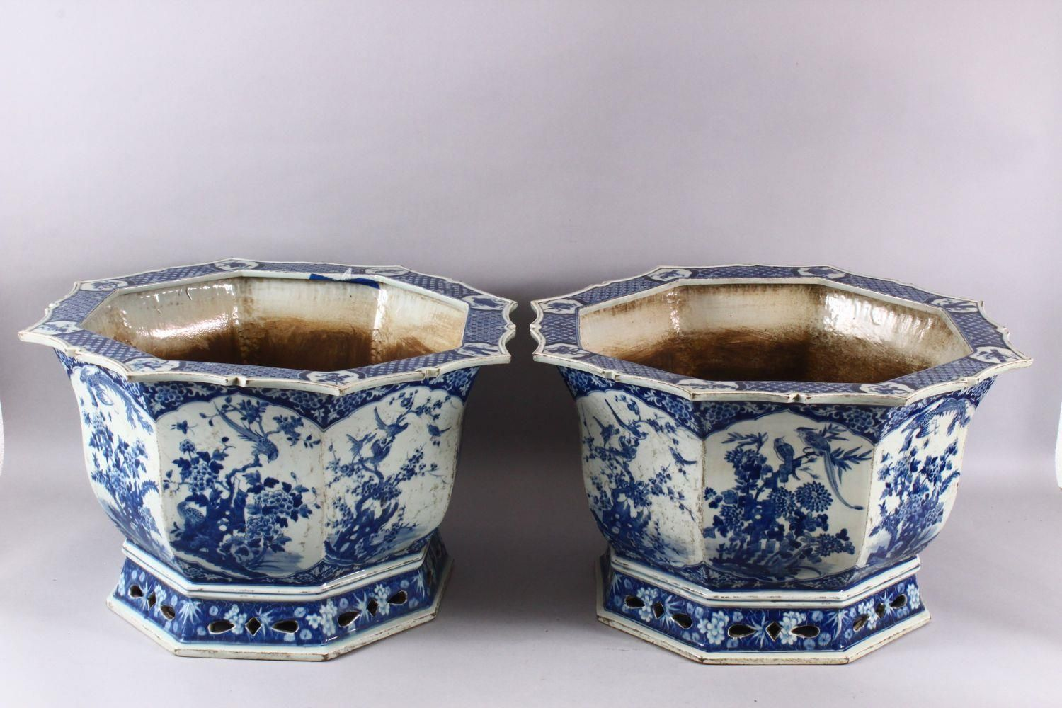 A PAIR OF LARGE CHINESE BLUE & WHITE OCTAGONAL PORCELAIN JARDINIERE / PLANTERS, decorated with - Image 2 of 8