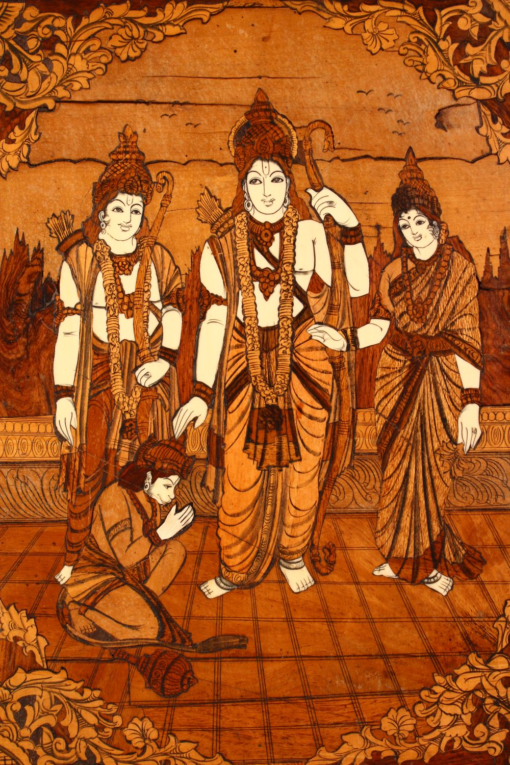 AN INDIAN INLAID WOODEN PANEL, inlaid with exotic woods and bone, depicting figures, 65cm x 55cm. - Image 2 of 5