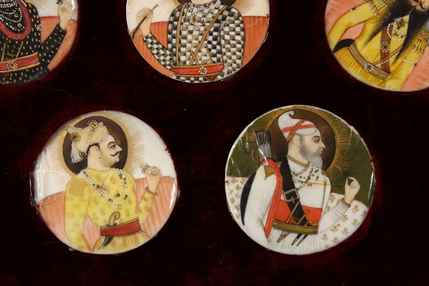 A BOXED SET OF THIRTEEN 18TH/19TH CENTURY PERSIAN CARVED & PAINTED IVORY MINIATURES, each of the - Image 4 of 10