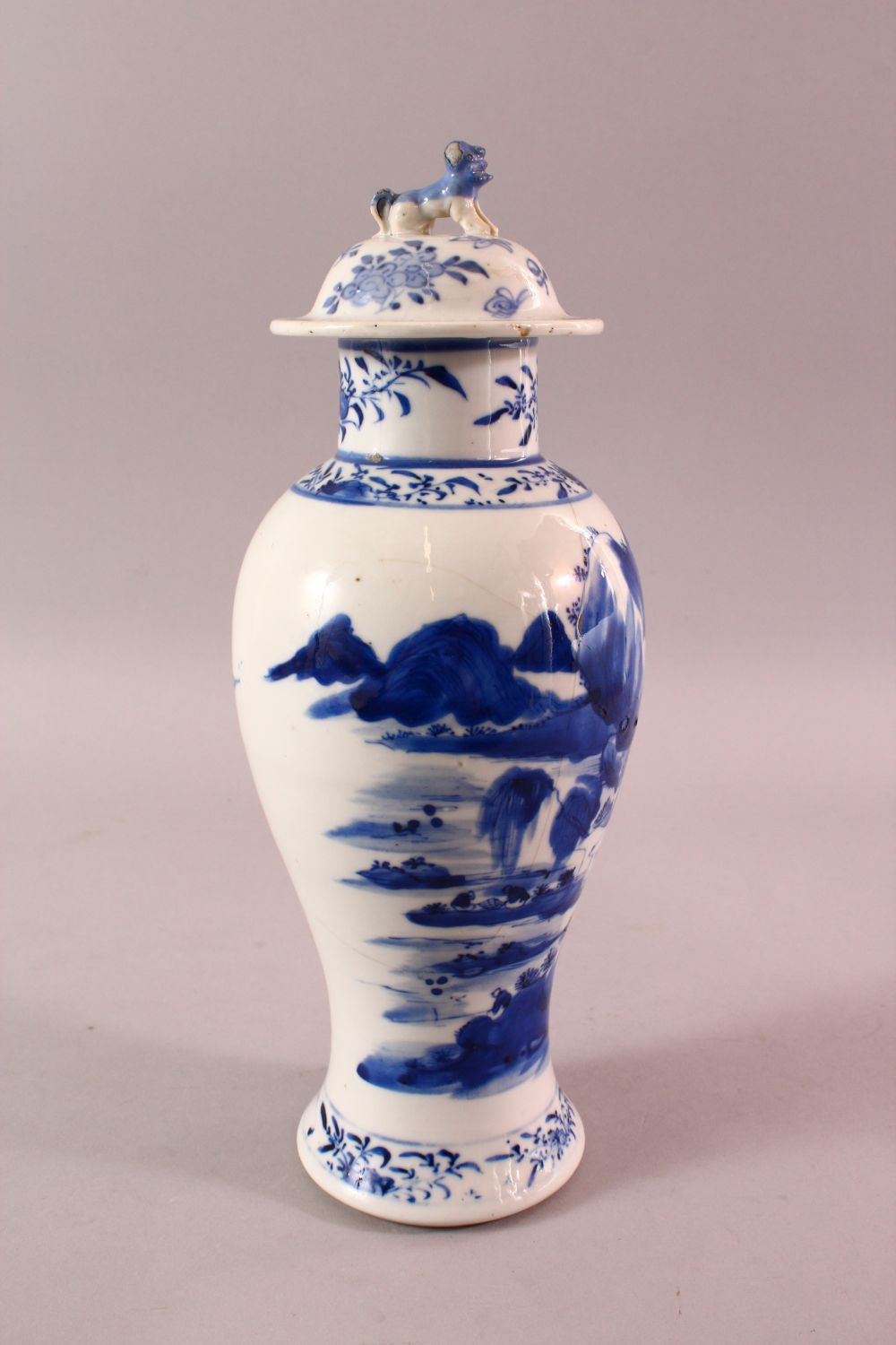 A CHINESE BLUE & WHITE PORCELAIN LANDSCAPE VASE, with decoration of landscapes, with a lion dog - Image 2 of 8