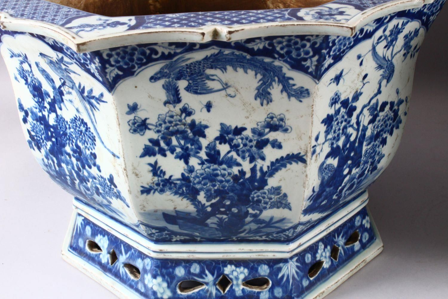 A PAIR OF LARGE CHINESE BLUE & WHITE OCTAGONAL PORCELAIN JARDINIERE / PLANTERS, decorated with - Image 6 of 8