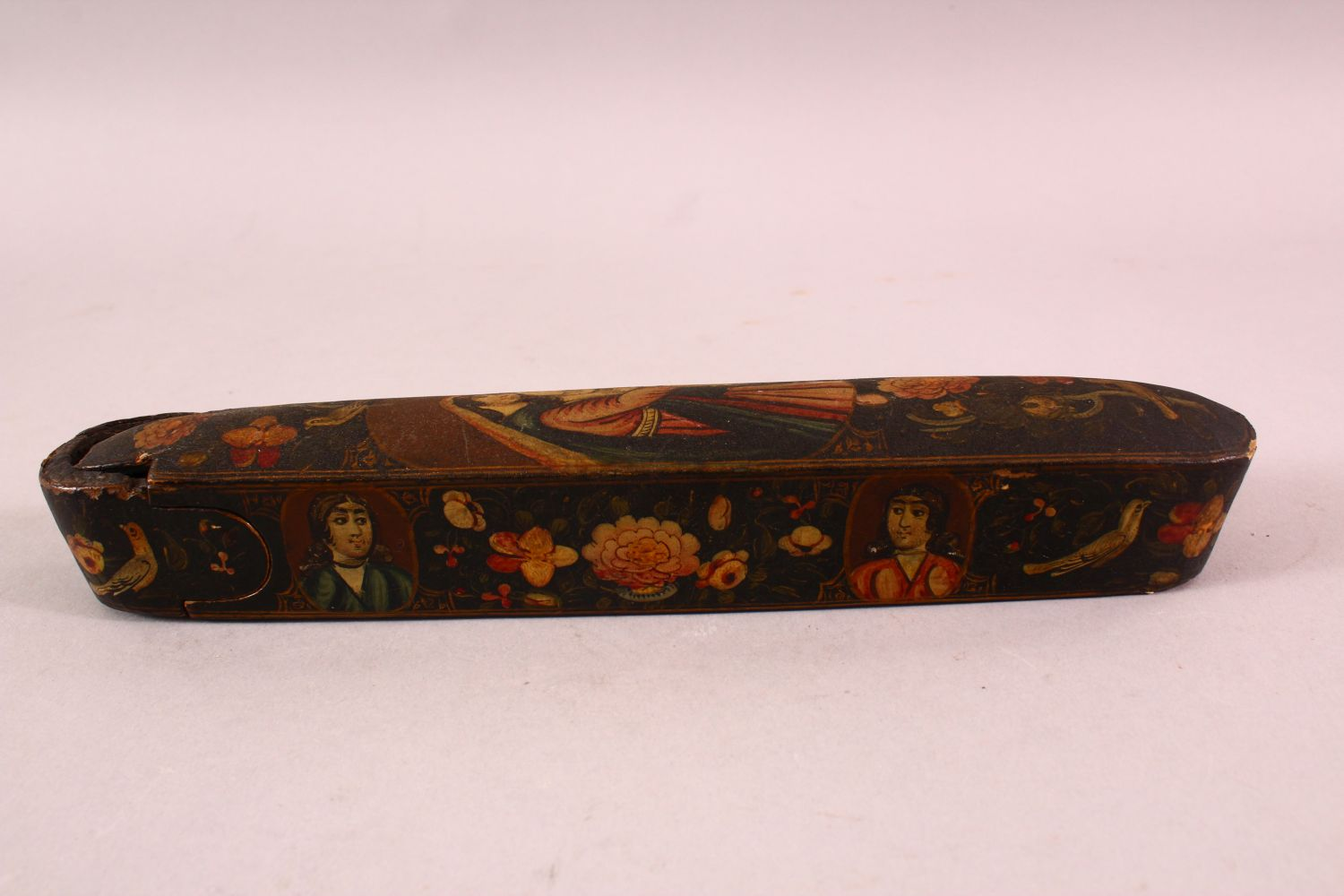 A PERSIAN QAJAR LACQUERED PEN BOX containing the brass inkwell, 23cm long. - Image 4 of 5