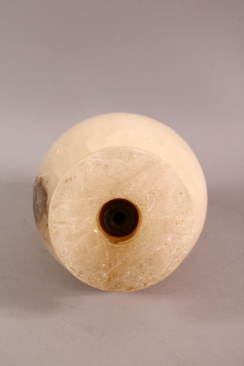 A CHINESE STYLE WHITE ONYX CARVED LIDDED VASE / LAMP, with twin moulded beast handles, overall 26. - Image 7 of 7