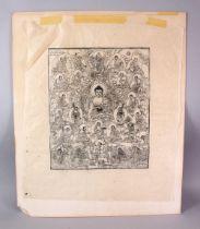 A TIBETAN PAPER THANKA RUBBING / BLOCK PRINT OF BUDDHA, depicting seated buddhas, taped to card,