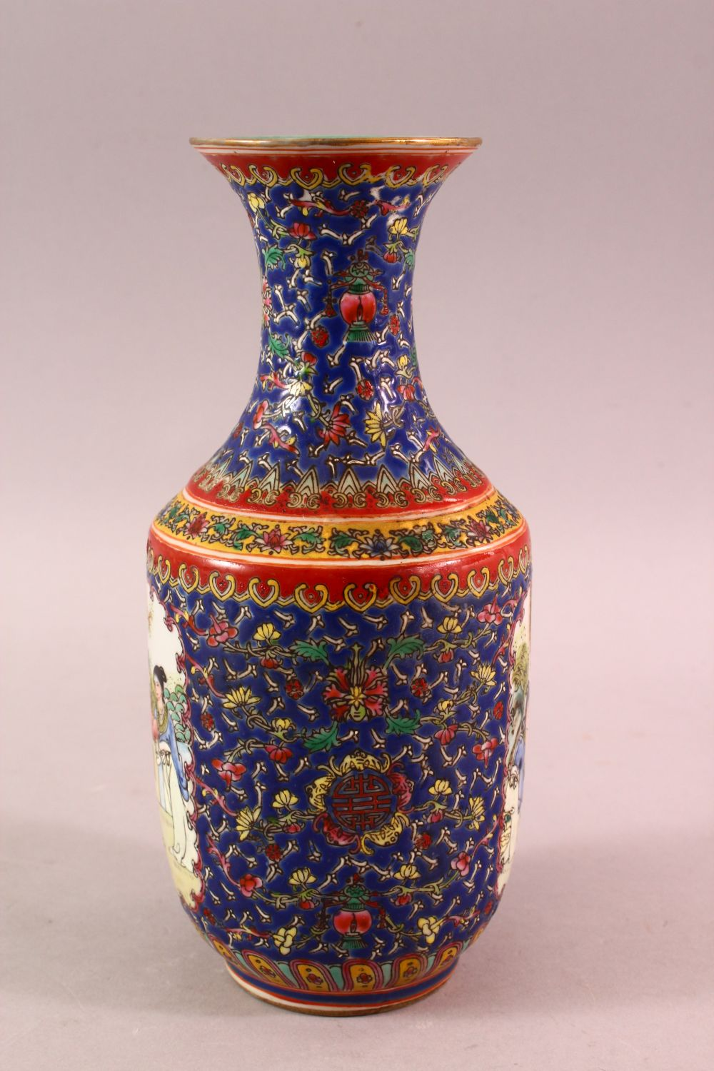 A CHINESE FAMILLE ROSE PORCELAIN VASE, with panels of figures and floral decoration, the base with a - Image 2 of 6