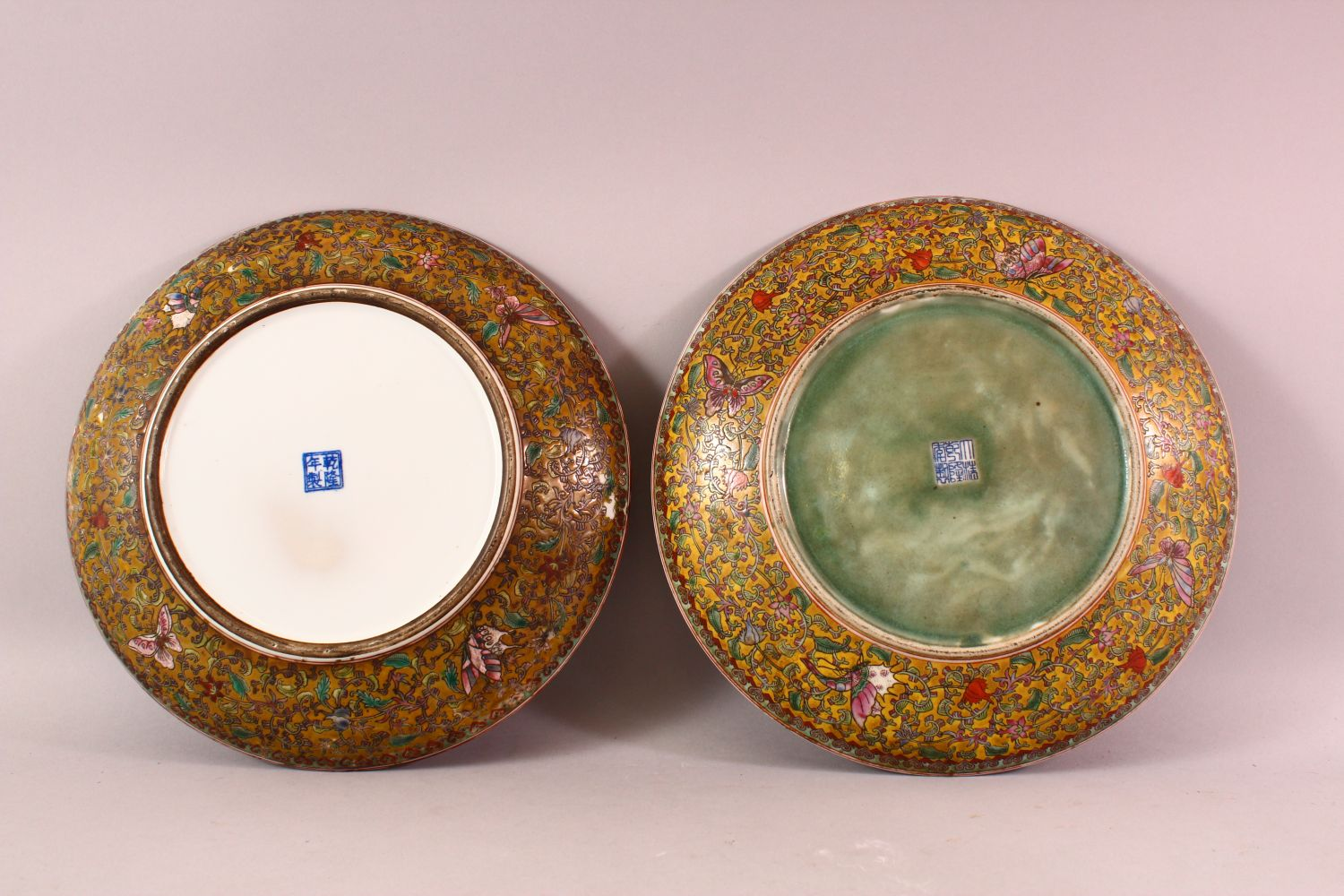 A TWO 19TH / 20TH CENTURY CHINESE FAMILLE ROSE PORCELAIN MILLEFLUER DISH, both with butterfly and - Image 4 of 6