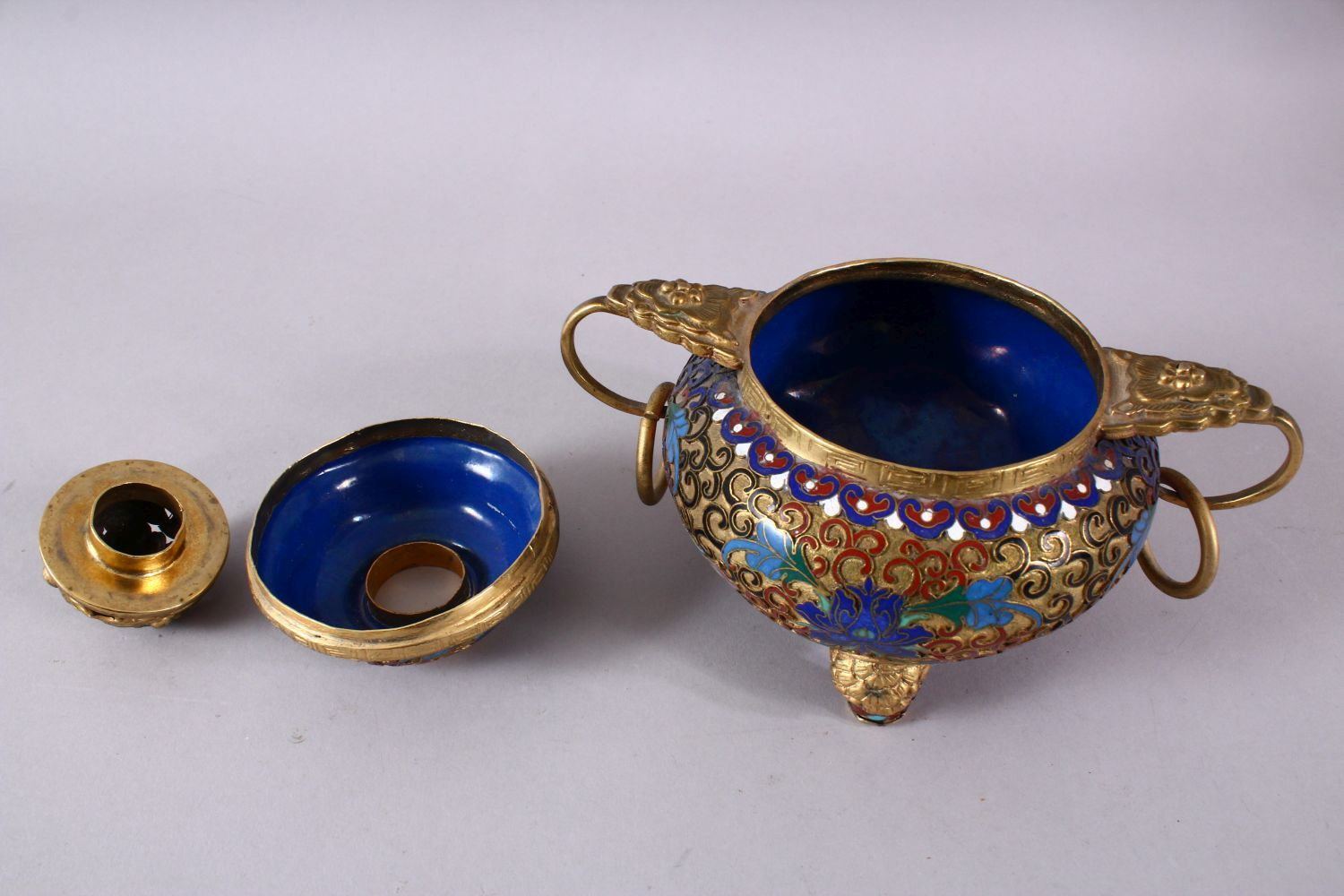 A CHINESE CLOISONNE TRIPLE FOOT CENSER & COVER, with raised enamel decoration of lotus, triple - Image 7 of 8