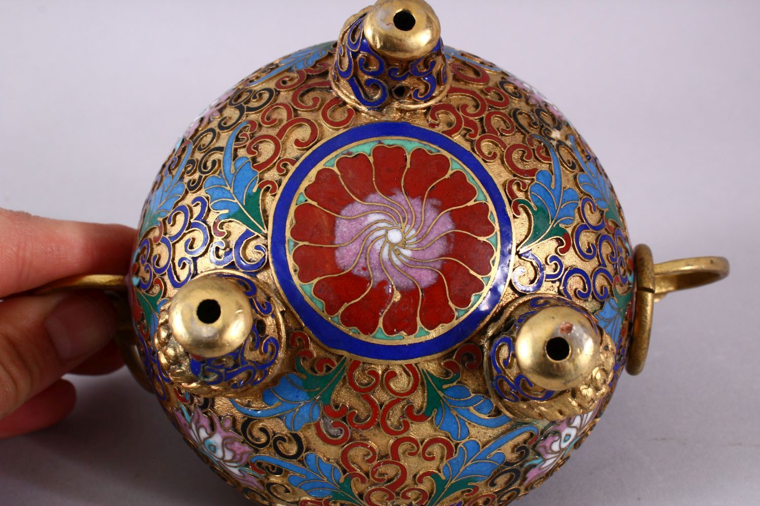 A CHINESE CLOISONNE TRIPLE FOOT CENSER & COVER, with raised enamel decoration of lotus, triple - Image 8 of 8