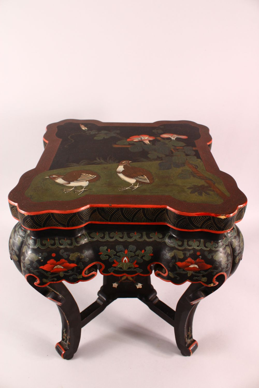A GOOD CHINESE CARVED WOOD & LACQUER DECORATED LOW TABLE, the top with decoration of quails in - Image 2 of 6