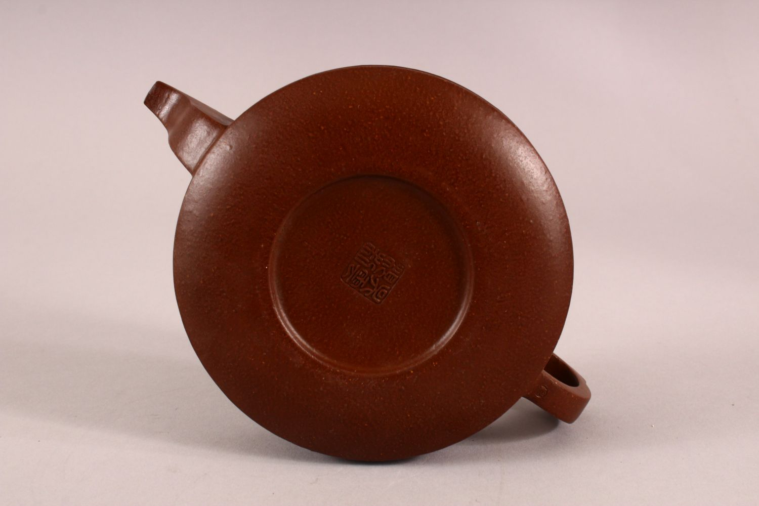 A CHINESE YIXING CLAY TEAPOT, with moulded beast like figures, the underside of the pot and lid with - Image 7 of 8