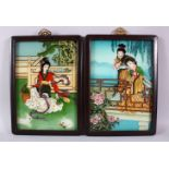 A PAIR OF REVERSE PAINTED FRAMED PICTURES, of young ladies, 34cm x 23cm.