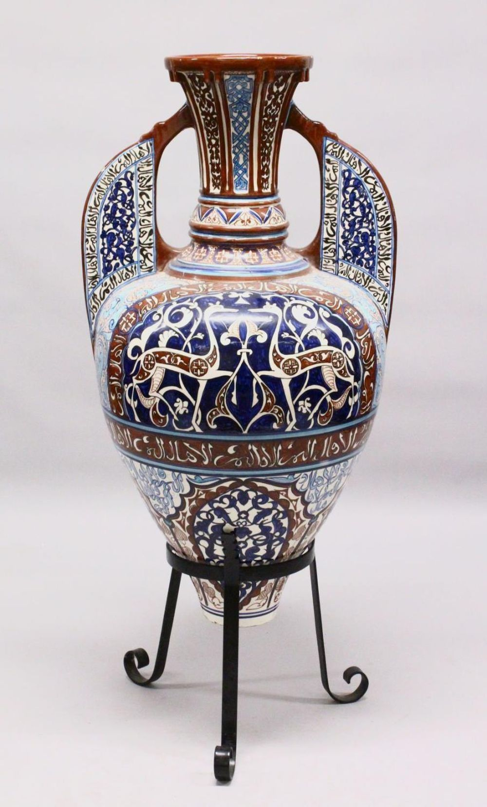 A HUGE 19TH CENTURY ISLAMIC HISPANO MORESQUE POTTERY ALHAMBRA STYLE POTTERY VASE & STAND, possibly