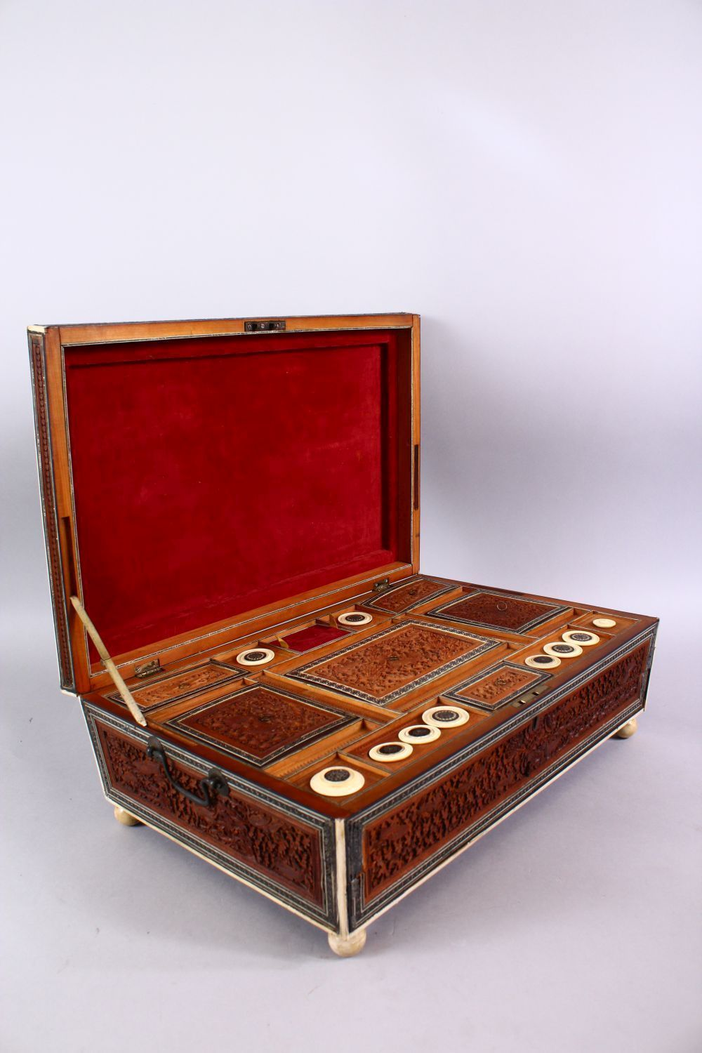 A 19TH CENTURY ANGLO INDIAN INLAID LIDDED SEWING BOX, with carved wood depicting figures and animals - Image 3 of 10