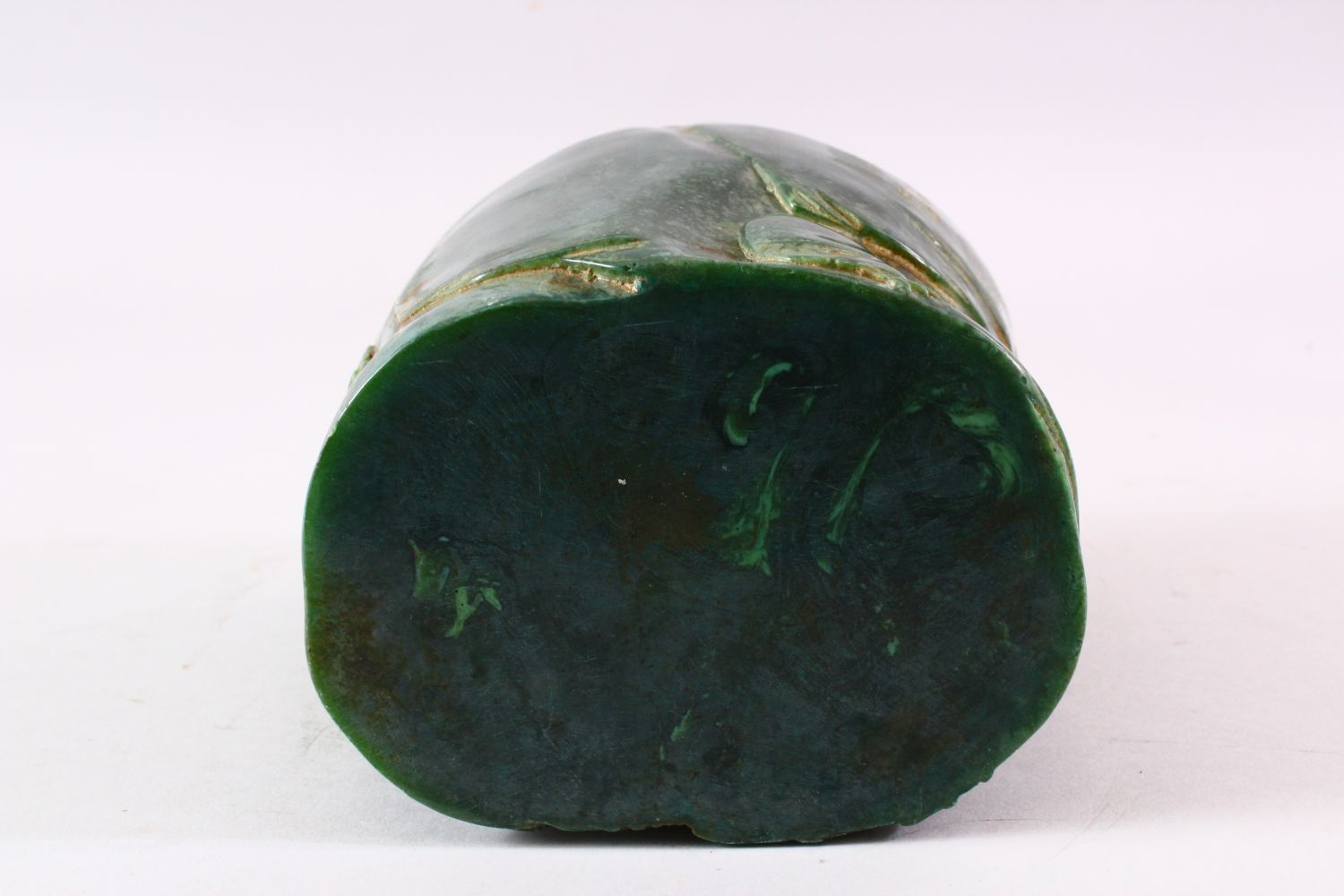 A CHINESE GREEN HARDSTONE BRUSH POT, carved with figures and trees, calligraphy, 15.5cm high. - Image 7 of 7