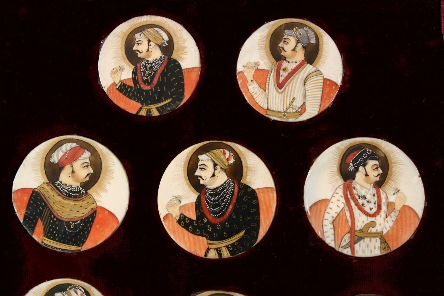 A BOXED SET OF THIRTEEN 18TH/19TH CENTURY PERSIAN CARVED & PAINTED IVORY MINIATURES, each of the - Image 2 of 10
