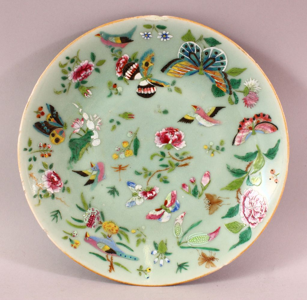 A 19TH CENTURY CHINESE CELADON FAMILLE ROSE PORCELAIN PLATE, With decoration of birds, flowers and