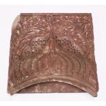 A LARGE AND VERY HEAVY 17TH CENTURY MIRHAB INDIAN MUGHAL CARVED SANDSTONE PANEL, depicting and