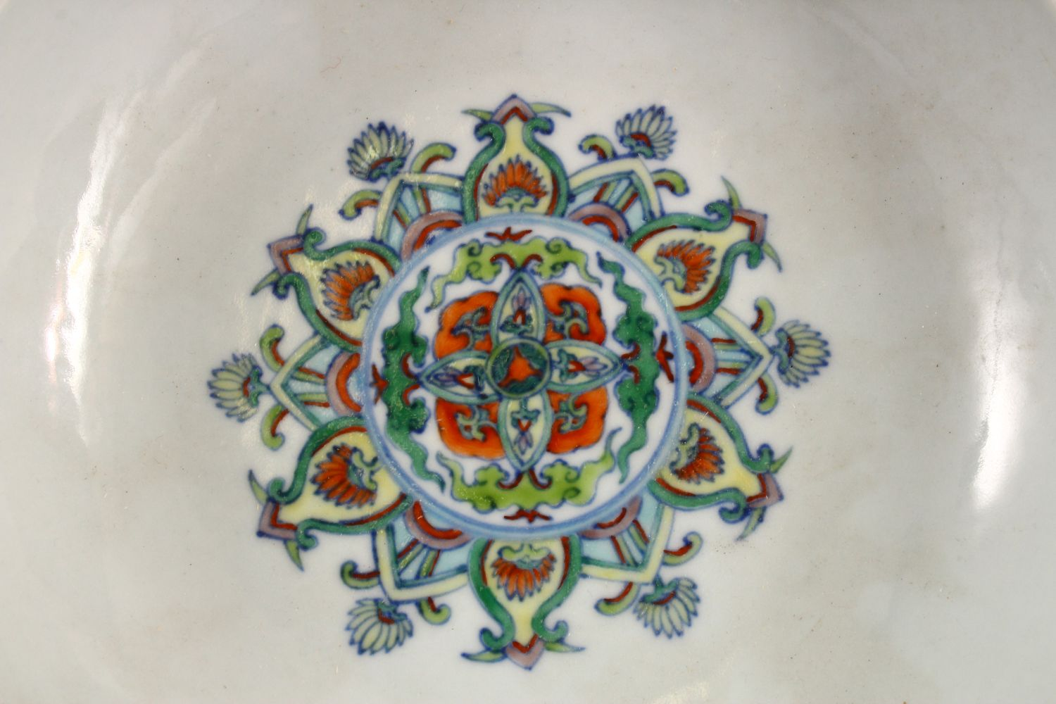 A CHINESE DOUCAI DISH decorated with lotus, yong zheng mark to base, 18cm diameter. - Image 2 of 5
