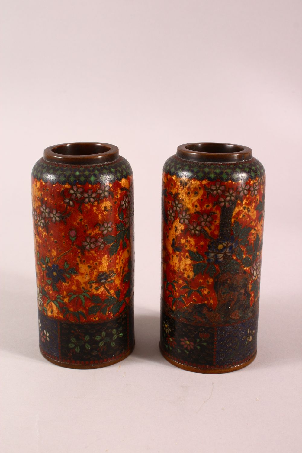 A PAIR OF JAPANESE CLOISONNE VASES OF CYLINDRICAL FORM, gold ground, 15cm high. - Image 4 of 5