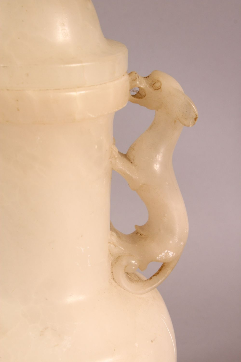 A CHINESE STYLE WHITE ONYX CARVED LIDDED VASE / LAMP, with twin moulded beast handles, overall 26. - Image 2 of 7