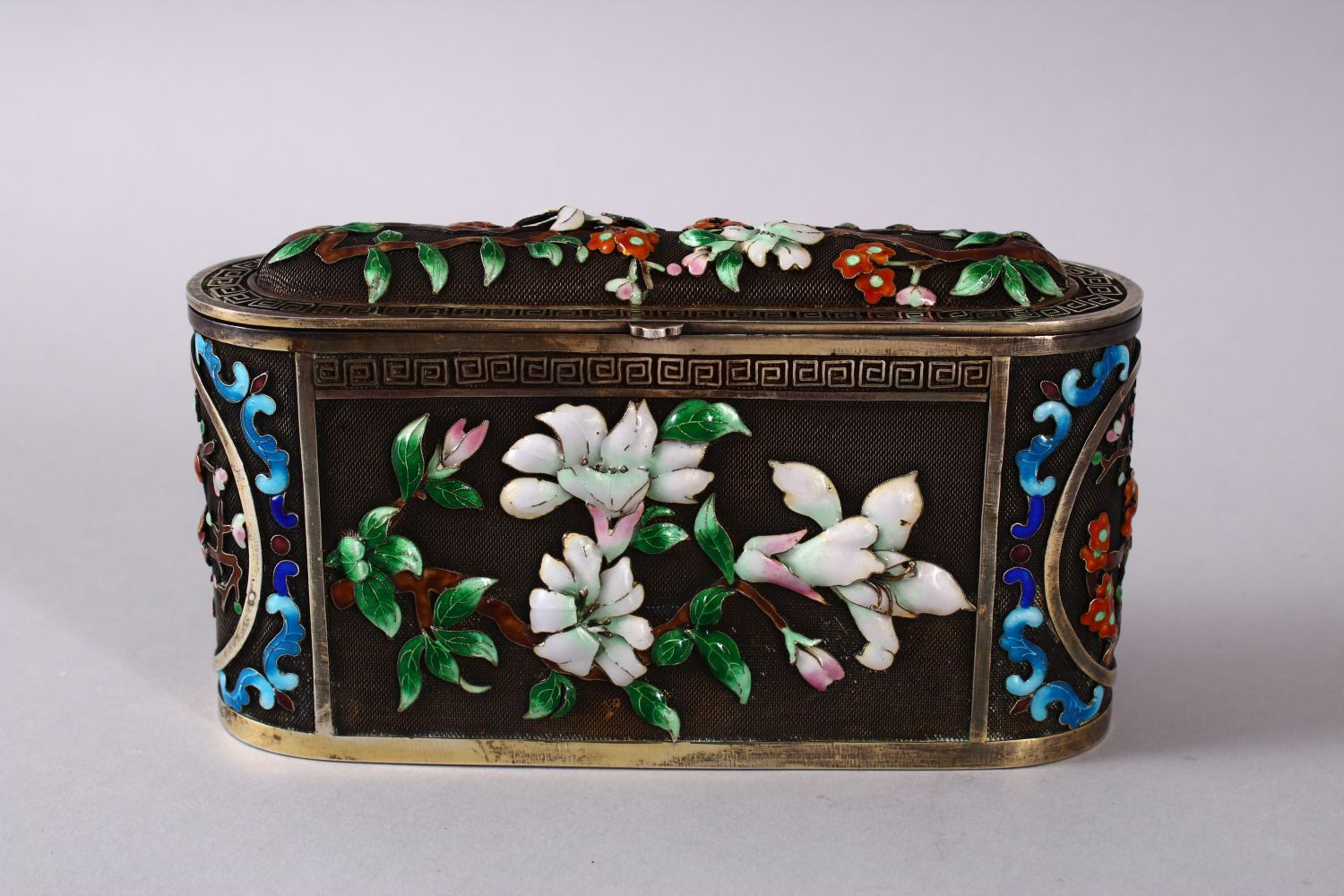 A CHINESE SILVER & ENAMEL LIDDED BOX, with enamel decoration of native flora, base marked silver, - Image 2 of 10