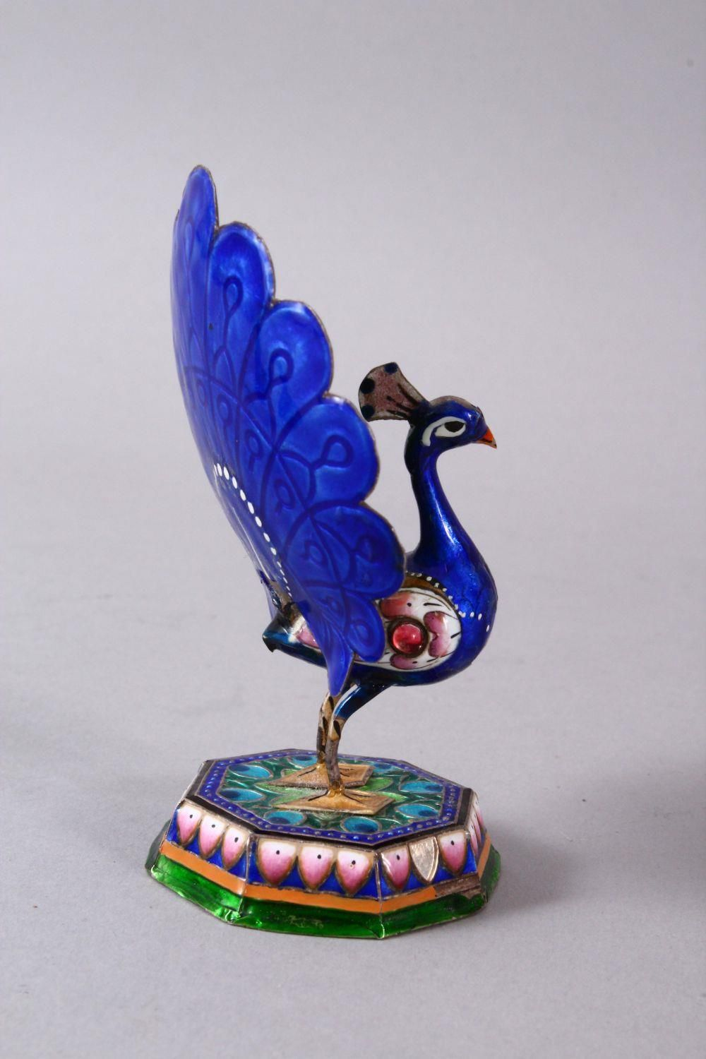 TWO 19TH / 20TH CENTURY INDIAN ENAMEL BIRD FIGURES, one of a peacock, the other of a bird upon - Image 3 of 8