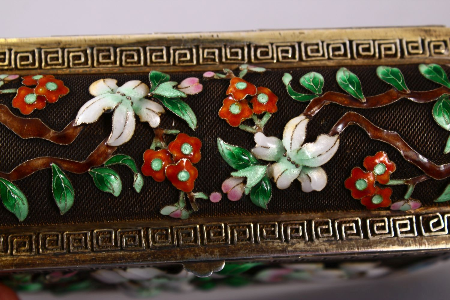 A CHINESE SILVER & ENAMEL LIDDED BOX, with enamel decoration of native flora, base marked silver, - Image 7 of 10
