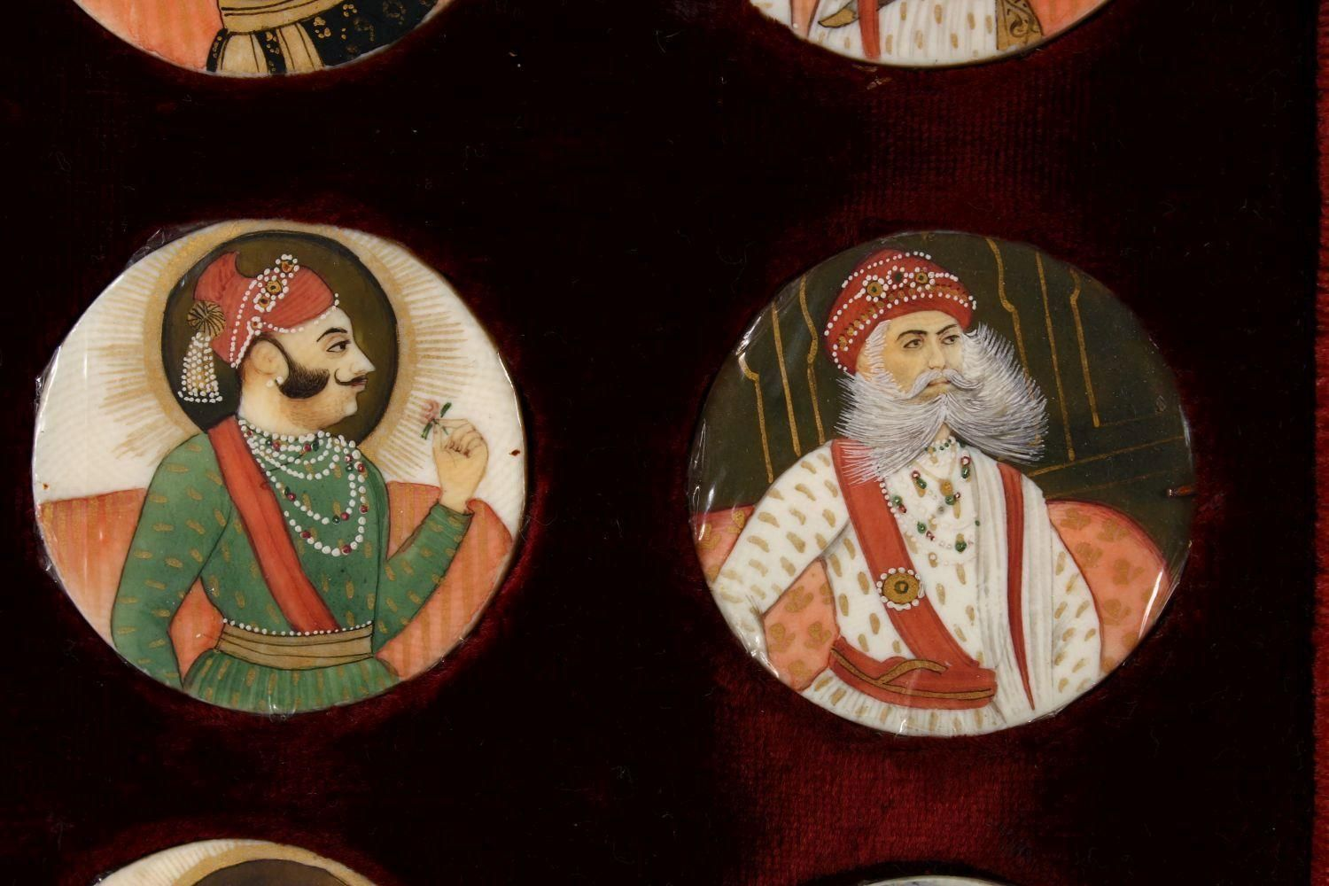 A BOXED SET OF THIRTEEN 18TH/19TH CENTURY PERSIAN CARVED & PAINTED IVORY MINIATURES, each of the - Image 7 of 10