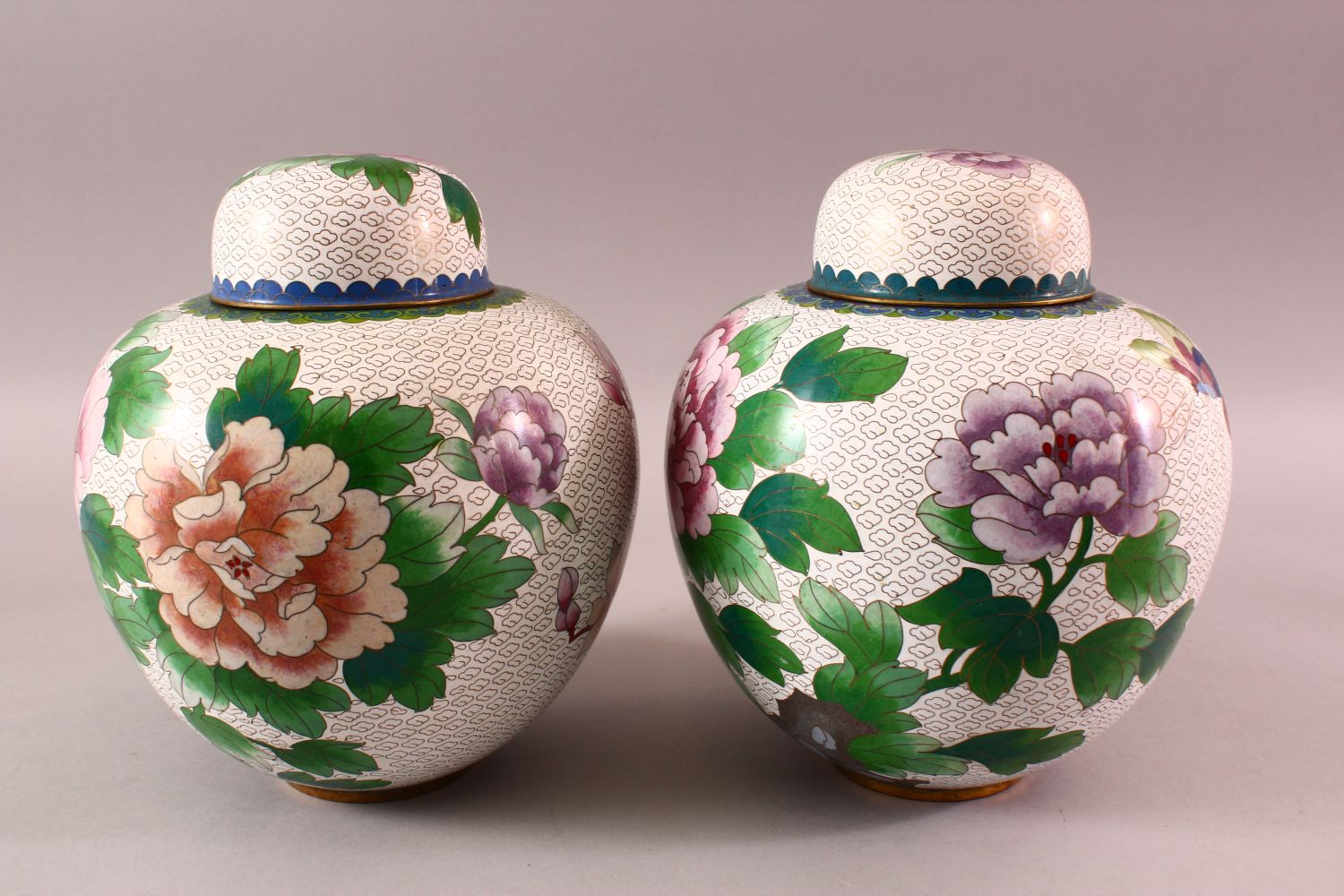 A PAIR OF CHINESE CLOISONNE GINGER JARS & COVERS, each with a white ground and floral decoration, - Image 4 of 7