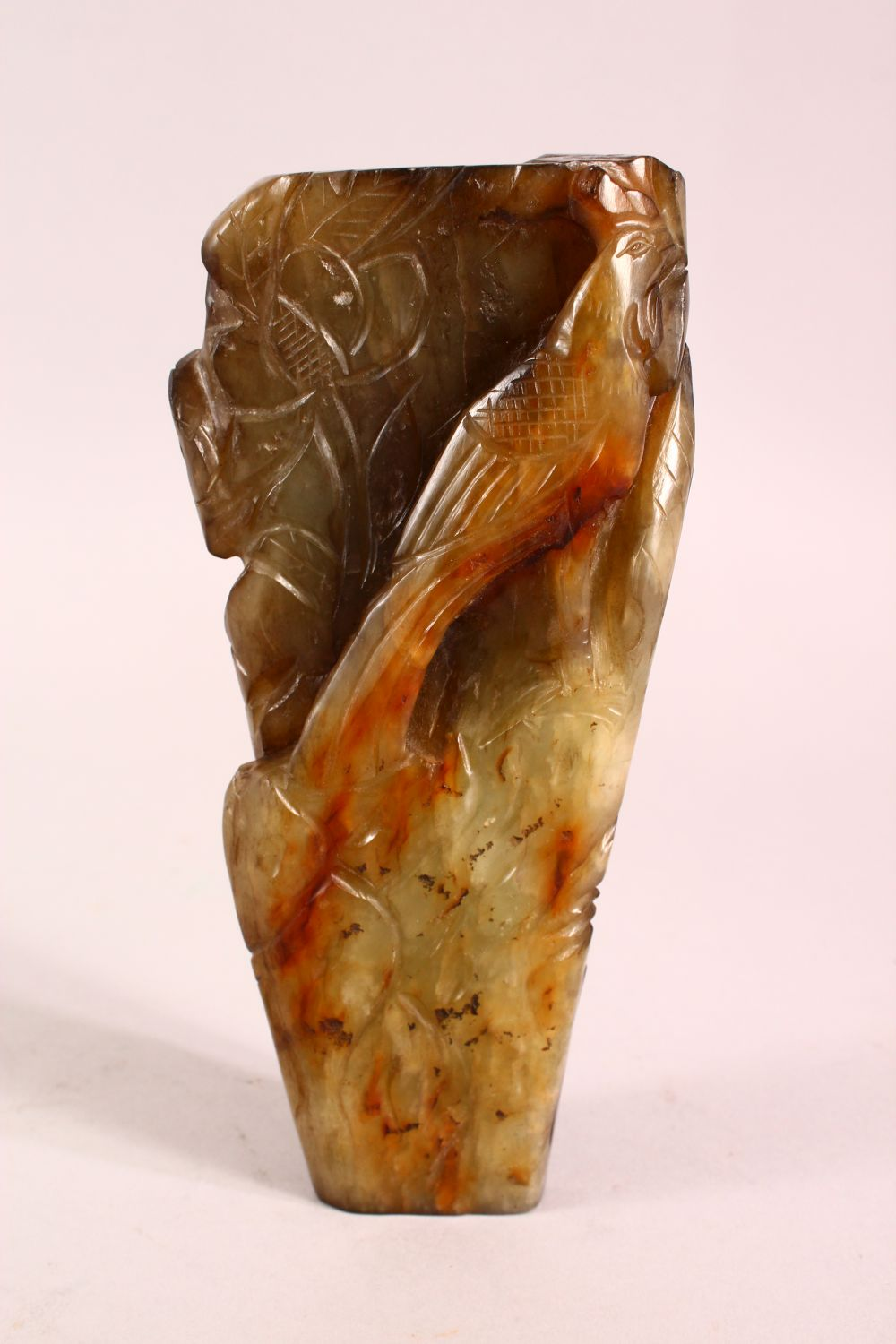 A CHINESE CARVED JADE VASE, carved with figures and foliage, 20.5cm - Image 4 of 8