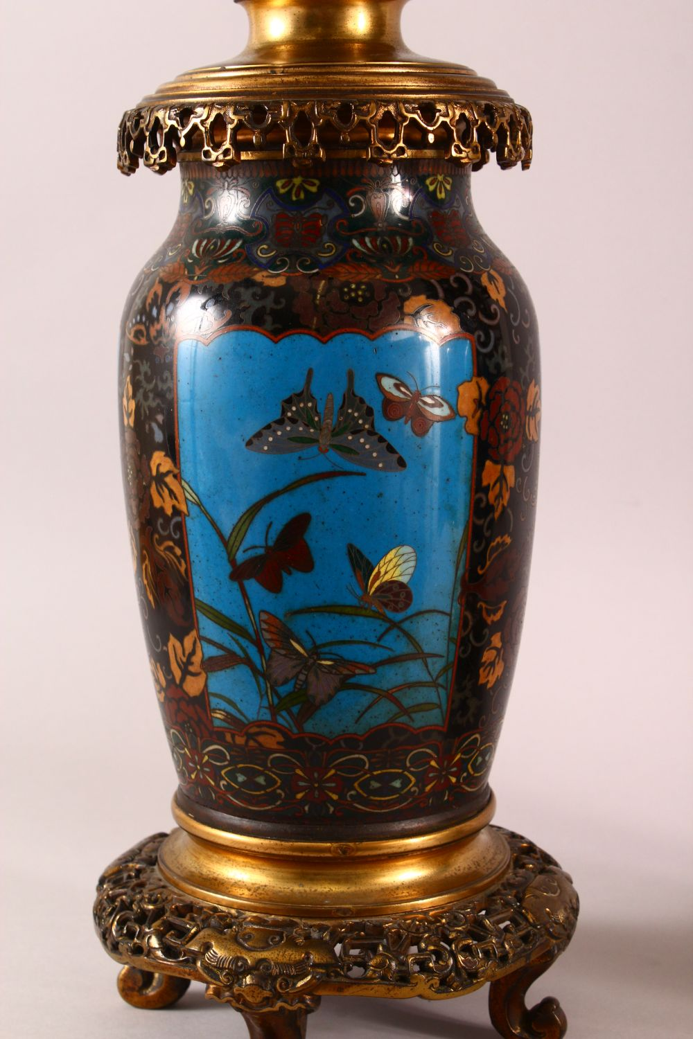 A VERY GOOD PAIR OF JAPANESE CLOISONNE AND ORMOLU NINE LIGHT CANDELABRA, the candle branches - Image 3 of 12