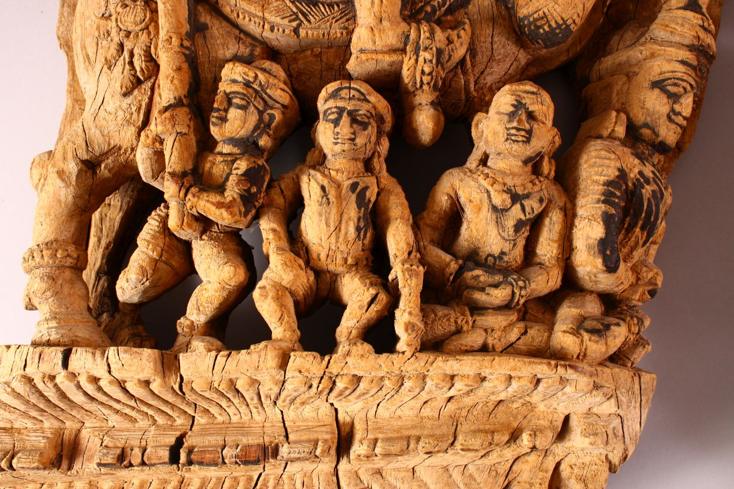 TWO 18TH/19TH CENTURY SOUTH INDIAN CARVED WOODEN PANELS, each depicting a figure on horseback with - Image 3 of 6