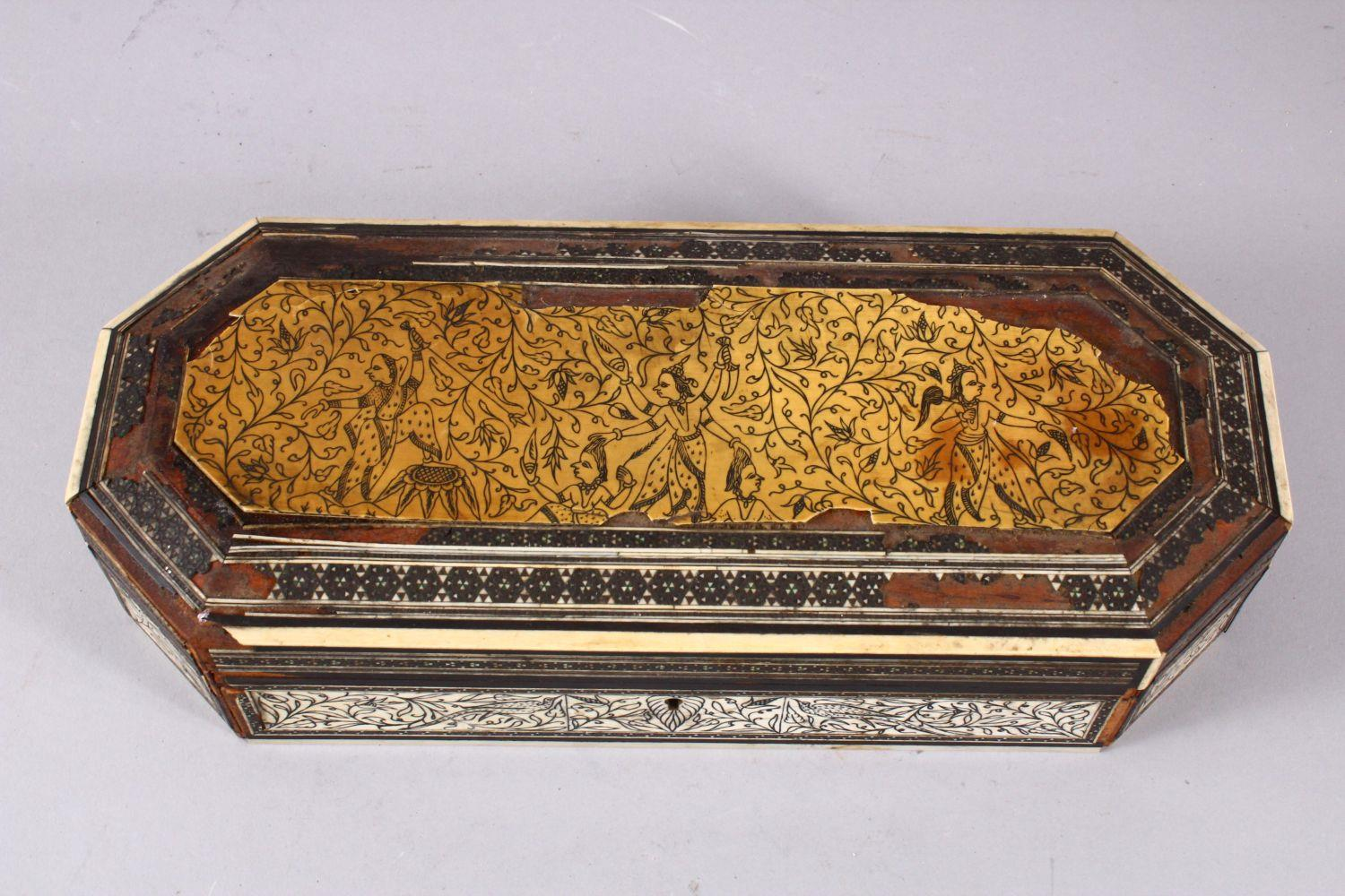 AN 18TH CENTURY INDIAN GOA INLAID IVORY LIDDED BOX, the box with a top ivory inlaid slither carved - Image 2 of 4