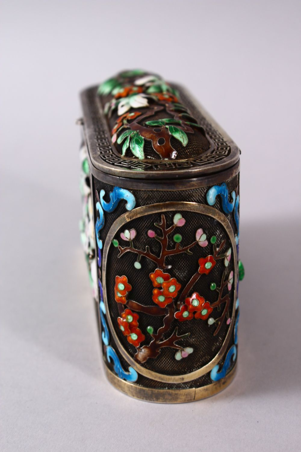 A CHINESE SILVER & ENAMEL LIDDED BOX, with enamel decoration of native flora, base marked silver, - Image 5 of 10