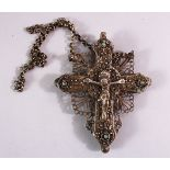 A RARE 17TH/18TH CENTURY OTTOMAN BALKANS SILVER CRUCIFIX, possibly Greek, with pierced and applied