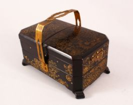 A JAPANESE LACQUER SEWING BOX, with a metal handle and floral gilt decoration, with lift up and o0ut