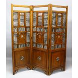 A LARGE ISLAMIC TURKISH OR SYRIAN CARVED WOOD AND INLAID MOTHER OF PEARL & IVORY ROOM DIVIDING