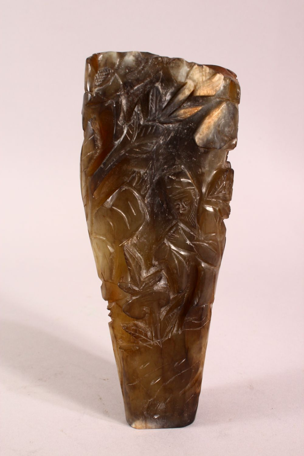 A CHINESE CARVED JADE VASE, carved with figures and foliage, 20.5cm - Image 2 of 8