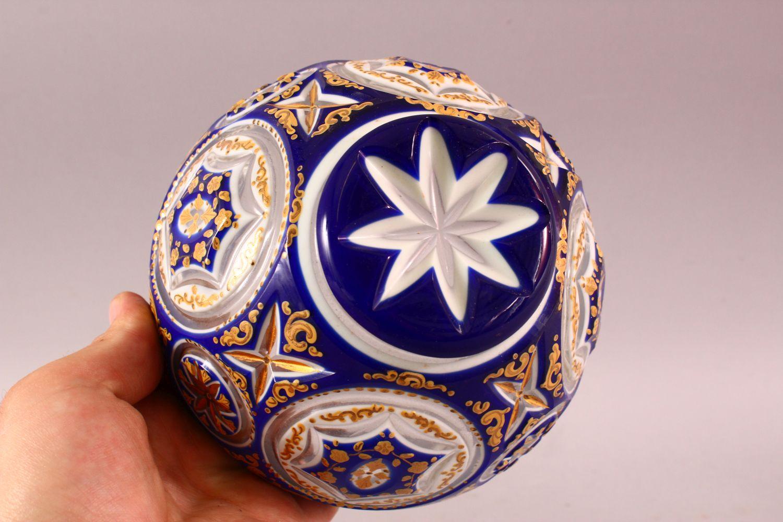 A BOHEMIAN BLUE CUT GLASS ENAMELED SWEET JAR & COVER, 17cm high. - Image 5 of 5
