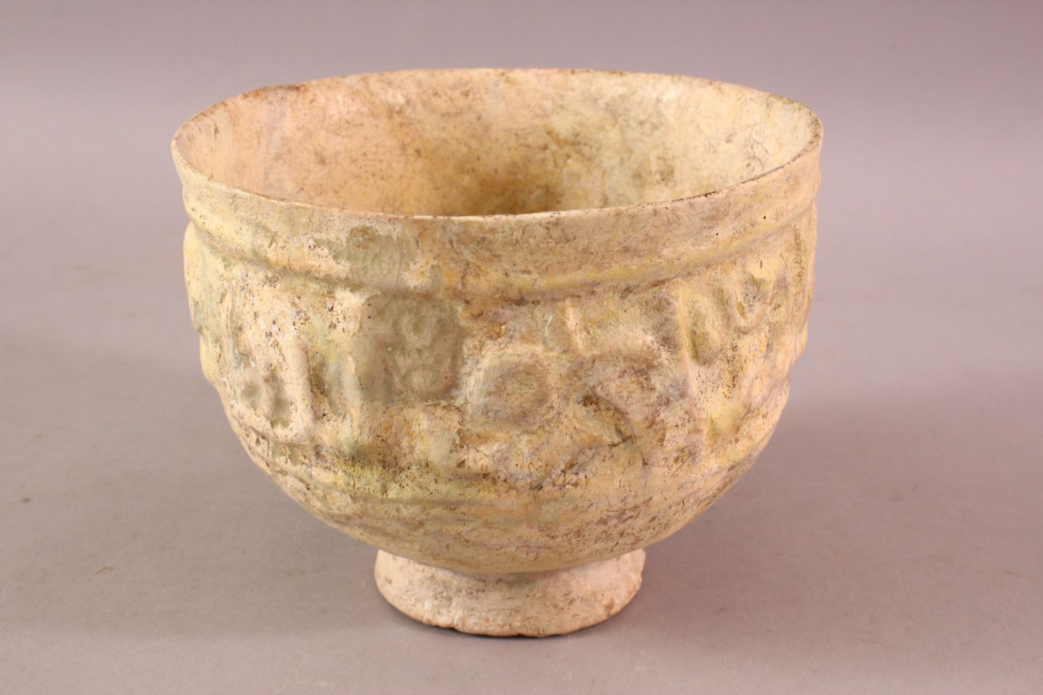 A 12TH CENTURY KUFIC SCRIPT GLAZED POTTERY BOWL, the exterior with moulded script, 15cm diameter, - Image 3 of 6