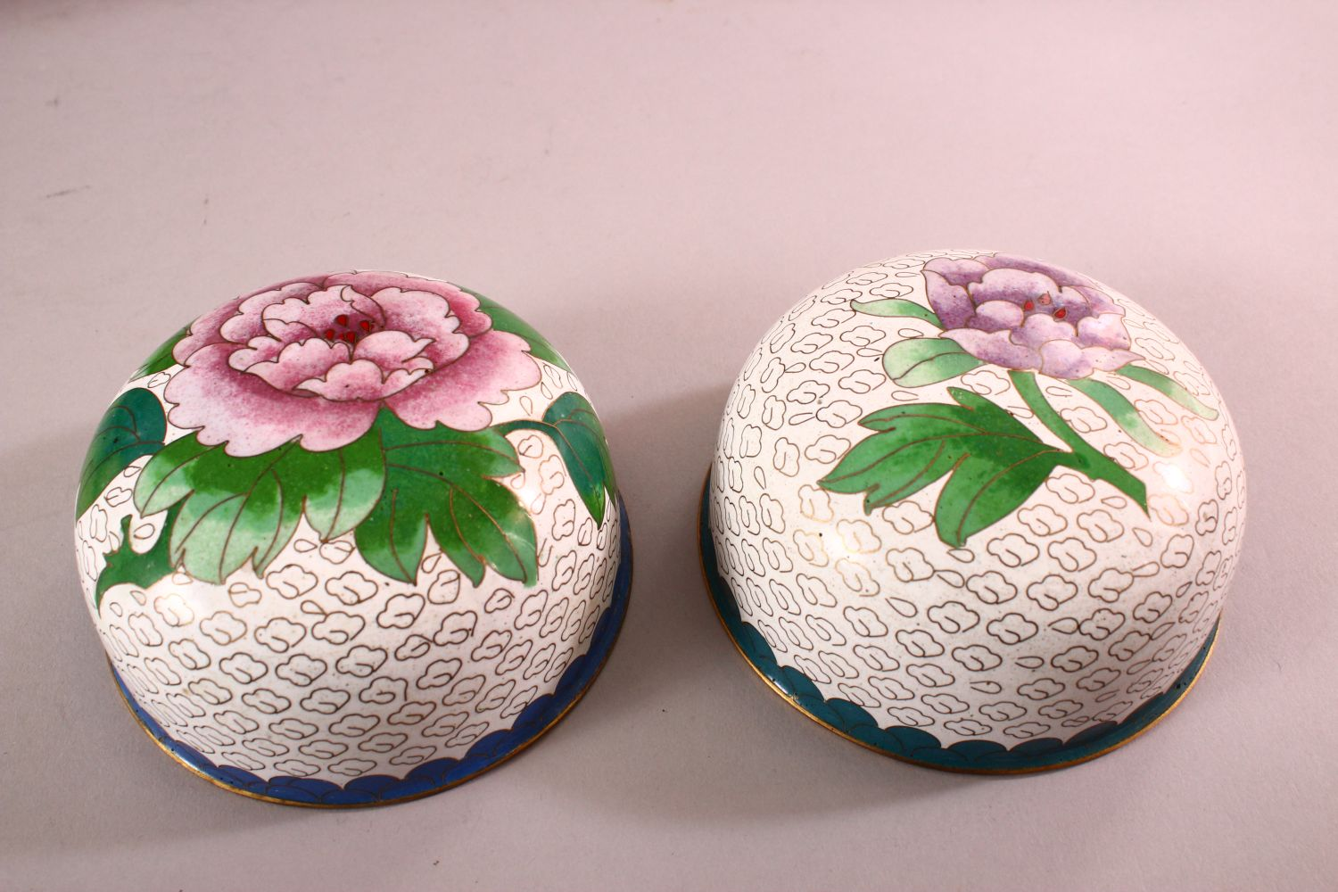A PAIR OF CHINESE CLOISONNE GINGER JARS & COVERS, each with a white ground and floral decoration, - Image 6 of 7