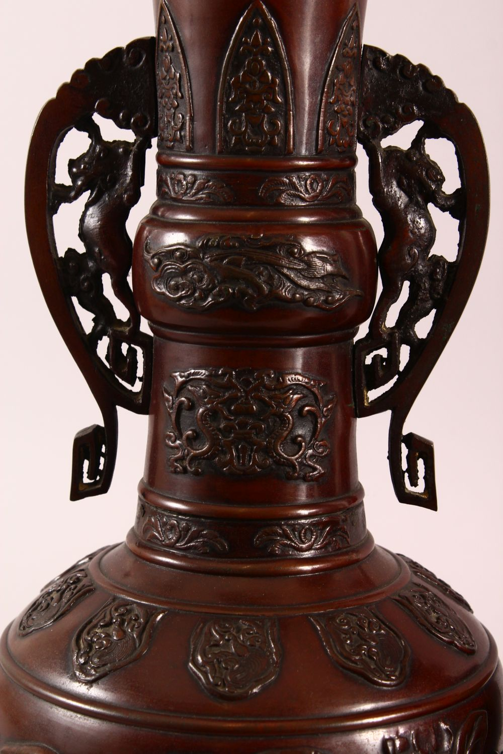 A PAIR OF JAPANESE RELIEF BRONZE VASES, with twin handles, relief birds and flora decoration, 40cm - Image 2 of 7