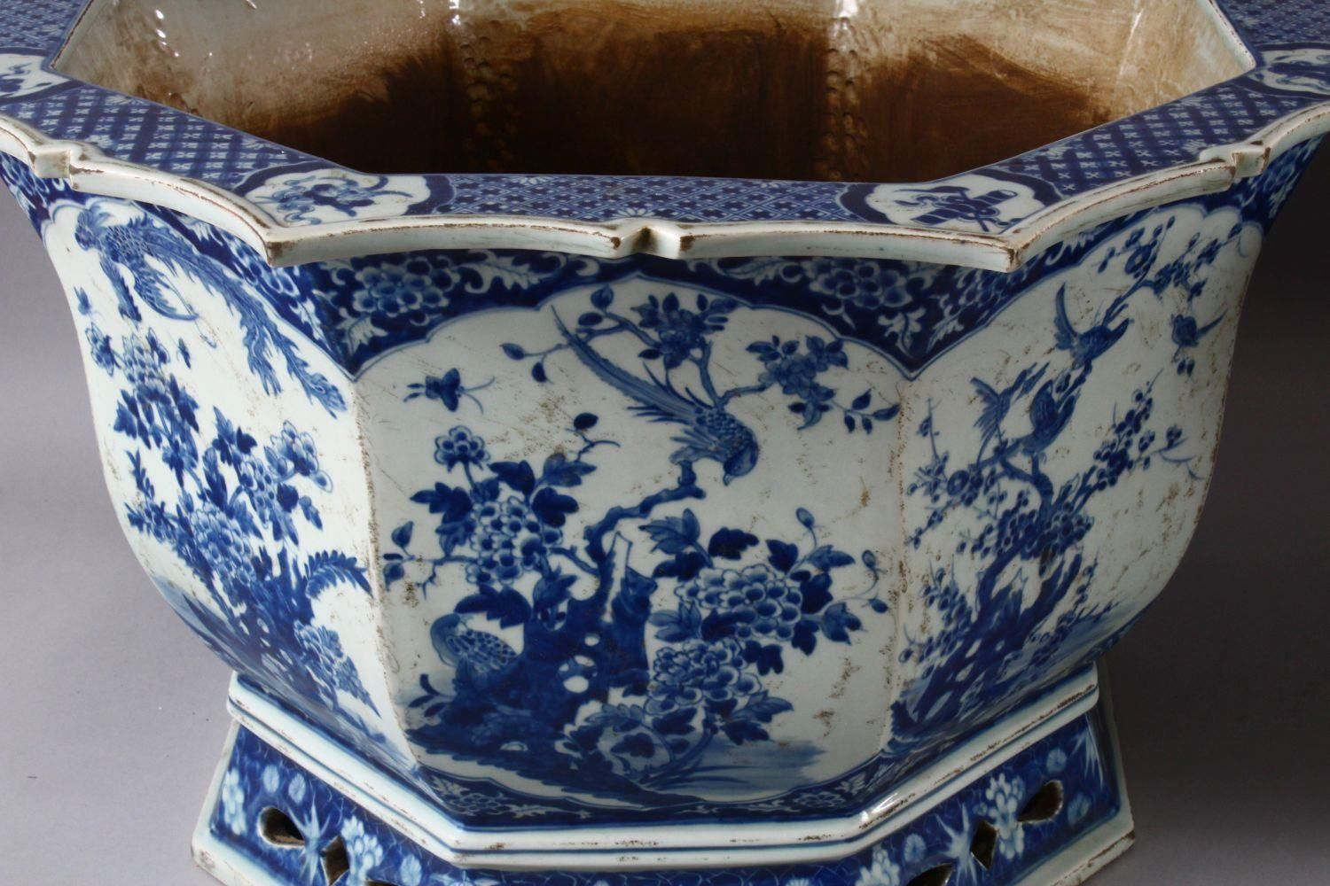 A PAIR OF LARGE CHINESE BLUE & WHITE OCTAGONAL PORCELAIN JARDINIERE / PLANTERS, decorated with - Image 3 of 8