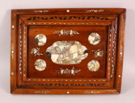A CHINESE CARVED HARDWOOD INLAID TRAY/PANEL, inlaid with mother of pearl, floral decoration, 49cm