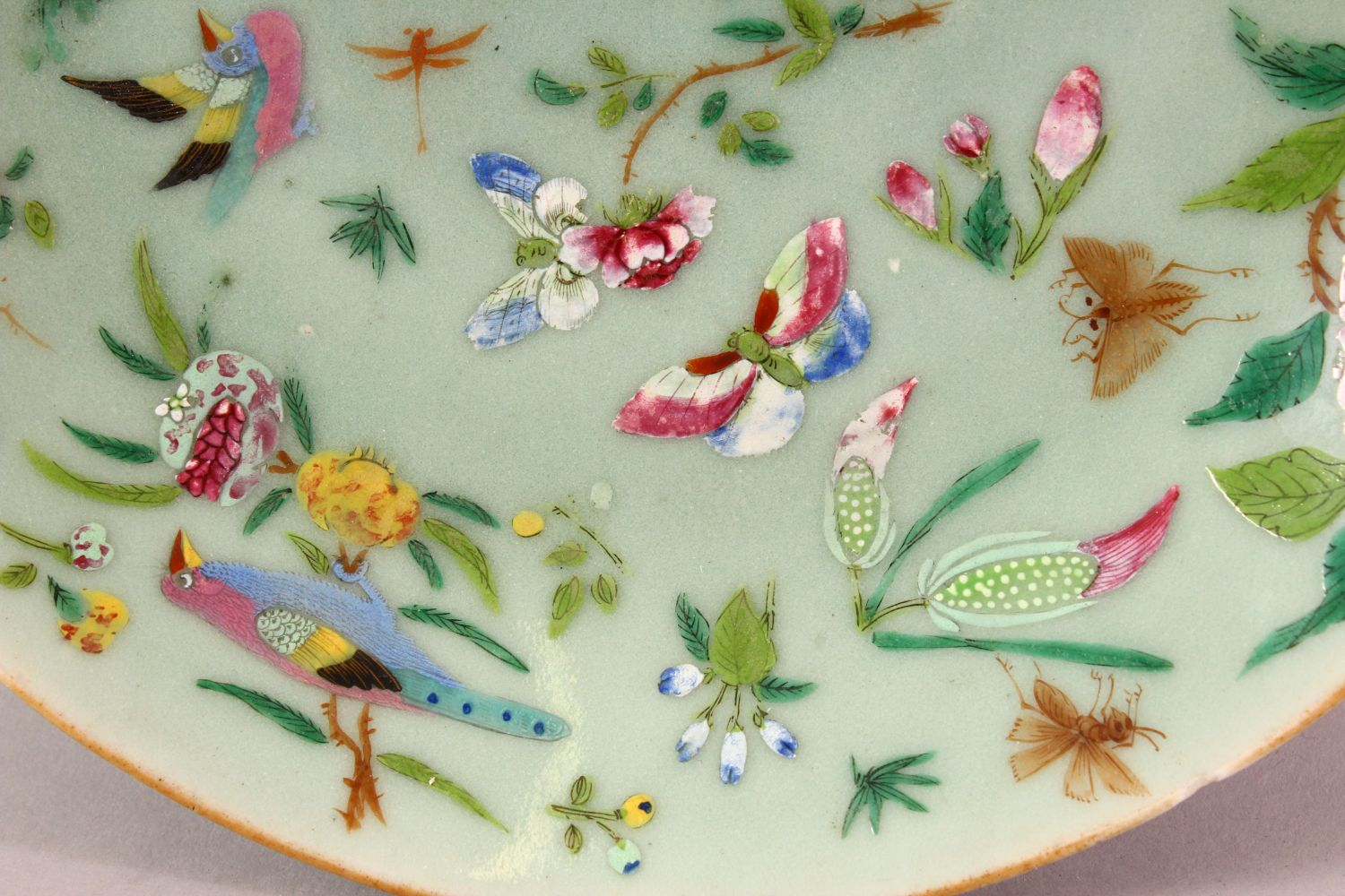 A 19TH CENTURY CHINESE CELADON FAMILLE ROSE PORCELAIN PLATE, With decoration of birds, flowers and - Image 4 of 7
